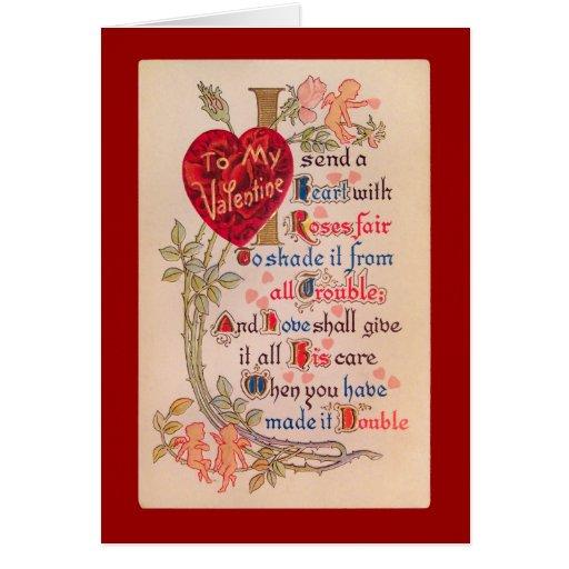 Vintage Valentine Poem Greeting Card