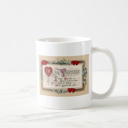 Vintage - Valentine - Poem, Hearts & Flowers Coffee Mugs