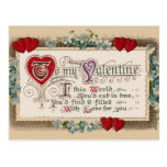 Vintage - Valentine - Poem, Hearts & Flowers Postcard