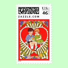 Vintage Valentine Postage Stamp - This postage stamp has an endearing vintage design on it and will carry your wishes for a happy Valentine's Day to your favorite valentine. Affix the stamp to a card or use it to send your gift of chocolates!