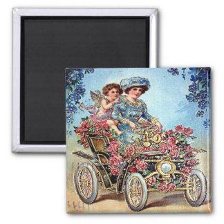 Vintage Valentine Postcard 2 Inch Square Magnet