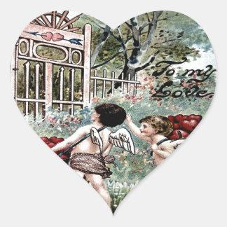 Vintage Valentine Postcard Heart Sticker