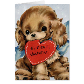 Vintage Valentine Puppy Card for Kids
