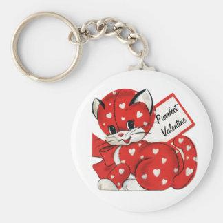 Vintage Valentine Red Cat White Hearts Retro Love Keychain