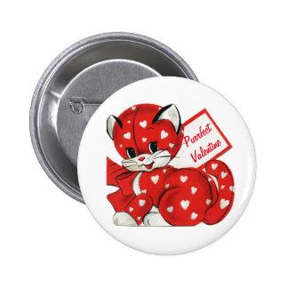 Vintage Valentine Red Cat White Hearts Retro Love Pinback Button