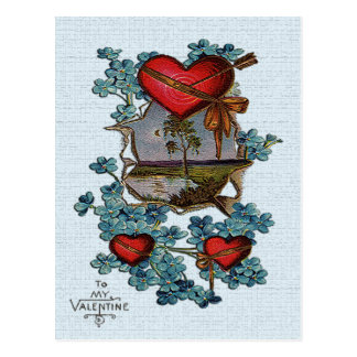 Vintage Valentine Red Hearts, Tree and Lake Card Postcard