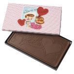 Vintage Valentine Retro Dots Girl Mirror Humor Milk Chocolate Bar