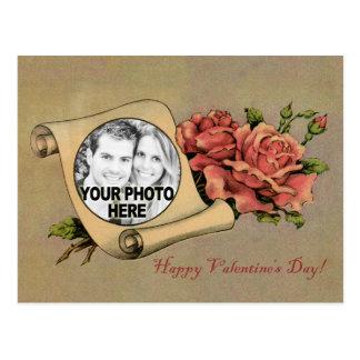 Vintage Valentine Romantic Rose & Scroll Frame Postcard