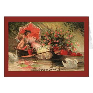 Vintage Valentine s Day Angel Cupid Flowers Love Card