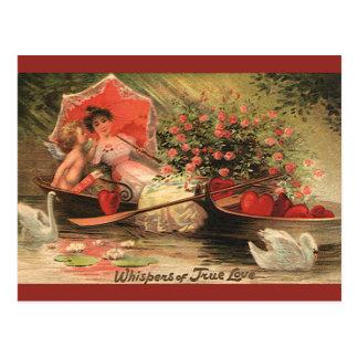 Vintage Valentine s Day Angel Cupid Flowers Love Postcard