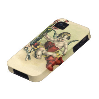Vintage Valentine s Day Angel Cupid Sewing Hearts Vibe iPhone 4 Cover