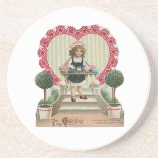 Vintage Valentine s Day Child with Flowers Drink Coaster