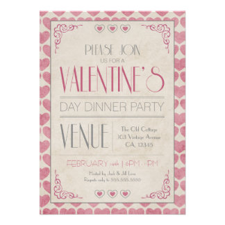 Vintage Valentine s Day Dinner Party Invitations