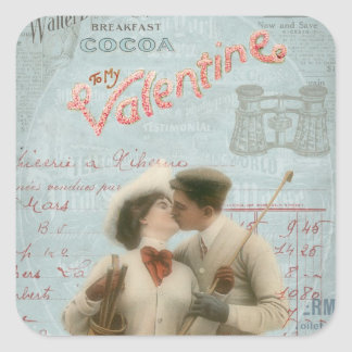 Vintage Valentine s Day Kissing Couple Collage Square Sticker
