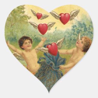 Vintage Valentine s Day Victorian Angels Hearts Heart Sticker