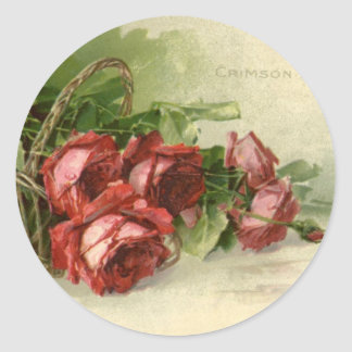 Vintage Valentine s Day Victorian Red Roses Round Stickers