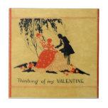 Vintage Valentine Small Square Tile