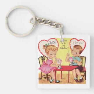 Vintage Valentine Square Keychain
