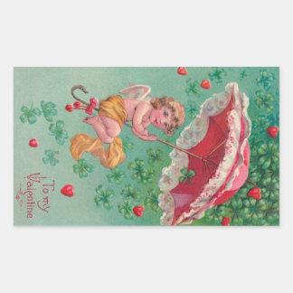 Vintage Valentine Sticker - Cupid Rides an Umbrell