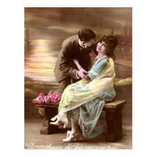 Vintage Valentine Sunset Postcard