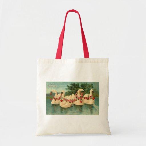 Vintage Valentine Swans Tote Bag
