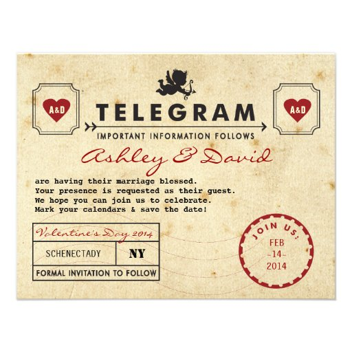 "Vintage Valentine Telegram Card Save the Date 4.25"" X 5.5 ..."