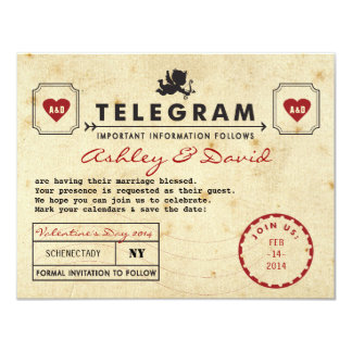 Vintage Valentine Telegram Card Save the Date