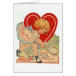 Vintage Valentine Tennis Greeting Card