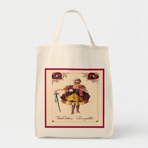 Vintage Valentine Thoughts Reusable Canvas Bag