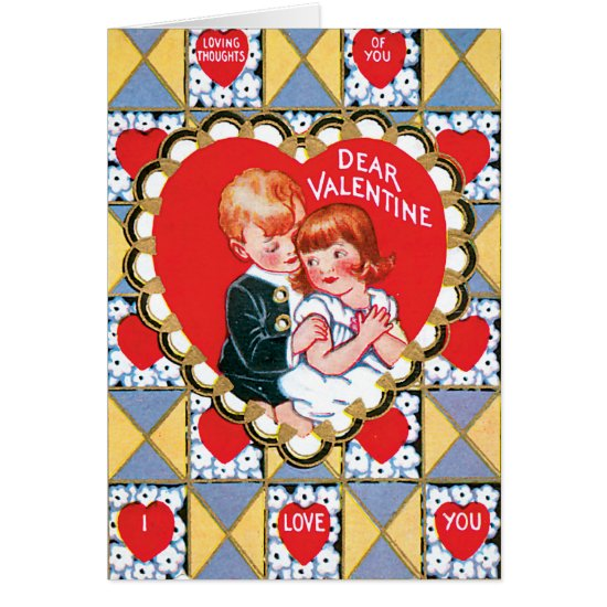 Vintage Valentine Triangles and Hearts Card