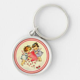 Vintage Valentine ~ Two Cupids Keychain