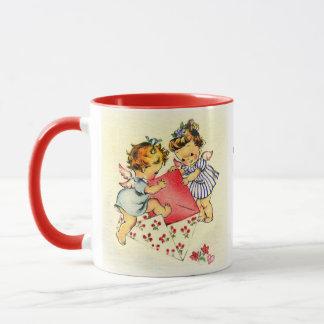 Vintage Valentine ~ Two Cupids Sending Their Love Mug