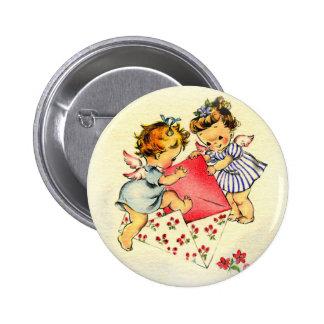Vintage Valentine ~ Two Cupids Sending Their Love Pinback Button