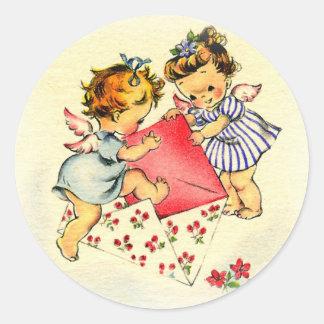 Vintage Valentine ~ Two Cupids Sending Their Love Classic Round Sticker