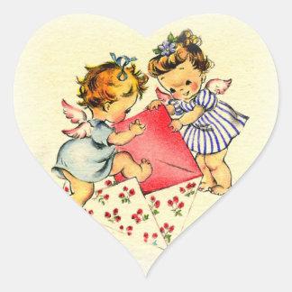 Vintage Valentine ~ Two Cupids Sending Their Love Heart Sticker