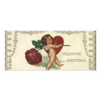 Vintage Valentine Victorian Angel Cupid Rose Heart 4x9.25 Paper Invitation Card