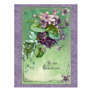 Vintage Valentine Violets and Ribbons Postcard
