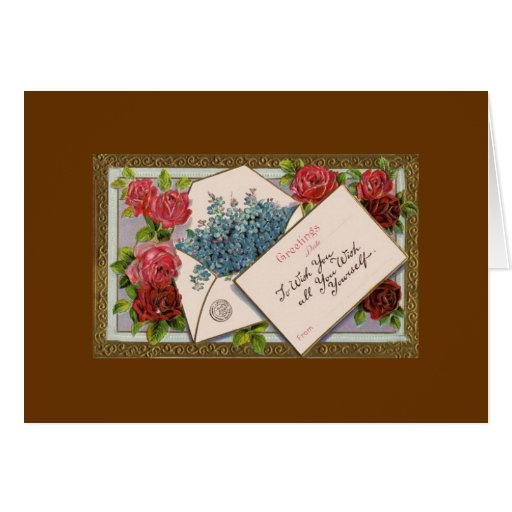 Vintage Valentine wish you all you wish yourself Greeting Card