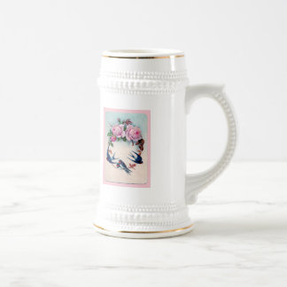Vintage Valentine with Birds and Roses Beer Stein