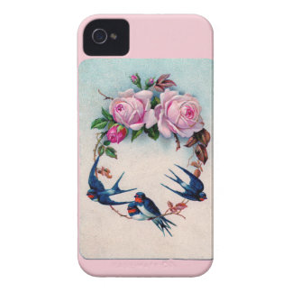 Vintage Valentine with Birds and Roses iPhone 4 Case