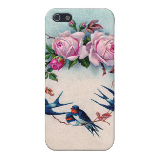 Vintage Valentine with Birds and Roses iPhone 5 Covers