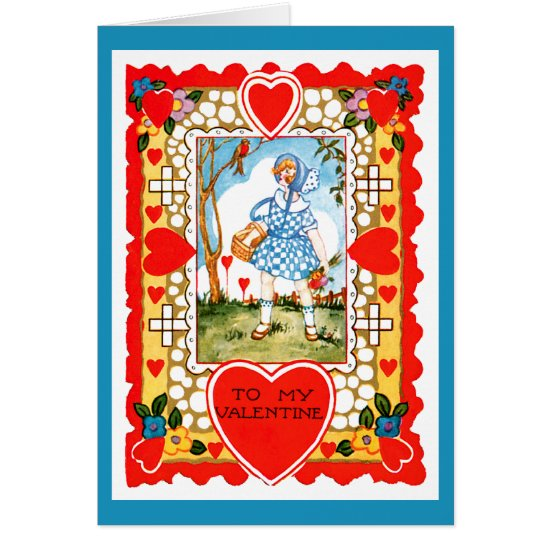 Vintage Valentine With Girl in Blue Card