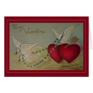 Vintage Valentine with Hearts and Doves Greeting Card