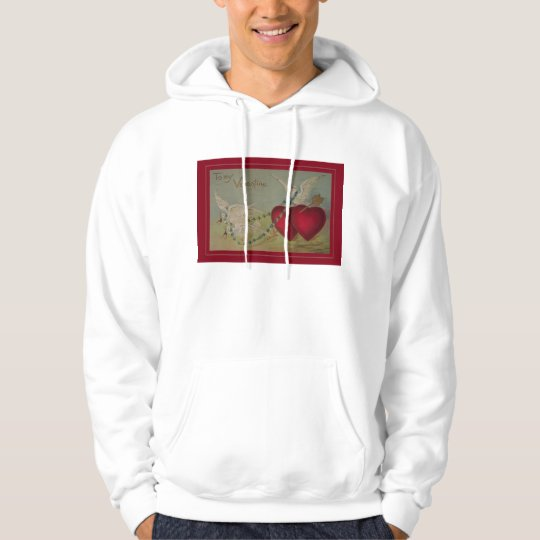 Vintage Valentine with Hearts and Doves Hoodie