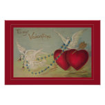 Vintage Valentine with Hearts and Doves Photo Print
