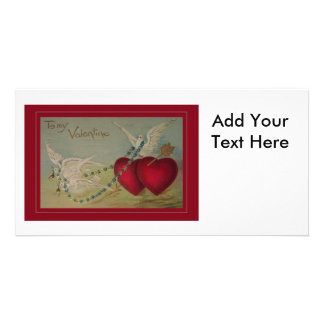 Vintage Valentine with Hearts and Doves Photo Card