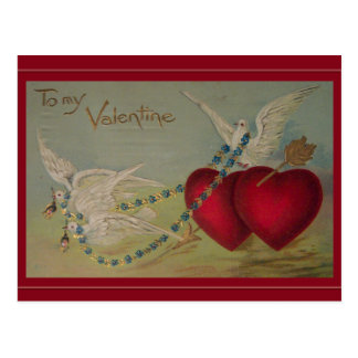 Vintage Valentine with Hearts and Doves Postcards