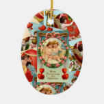 Vintage Valentines collage Double-Sided Oval Ceramic Christmas Ornament
