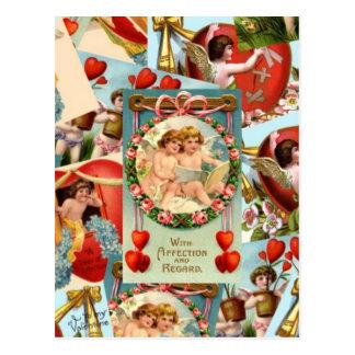 Vintage Valentines collage Postcard