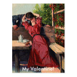 Vintage Valentines Couple Kissing Card Postcard
